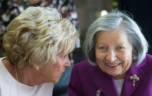 105 year old Ruth Horwitz, right, talks with her daughter Fran Krane during an event to celebrate twenty centenarians who live at the Waldorf Residence in Montreal, March 11, 2018.