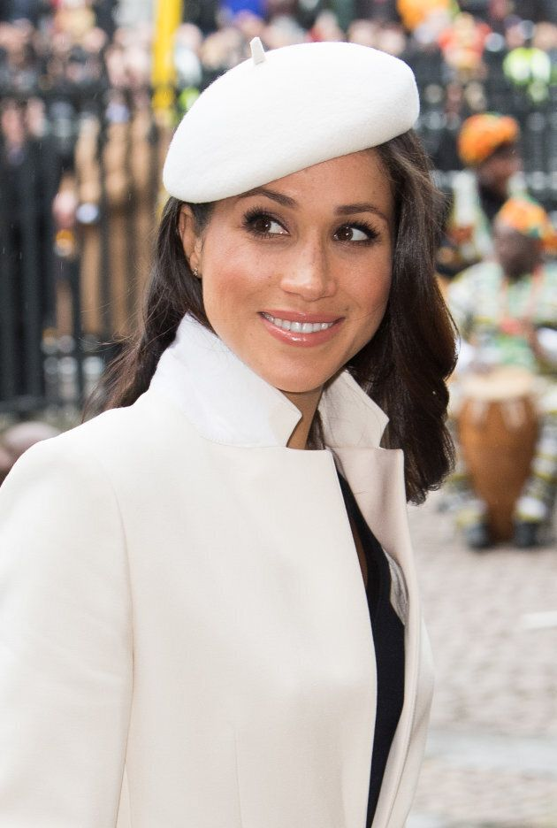 Meghan Markle rocks a beret while attending the Commonwealth Day service at Westminster Abbey on March 12, 2018.