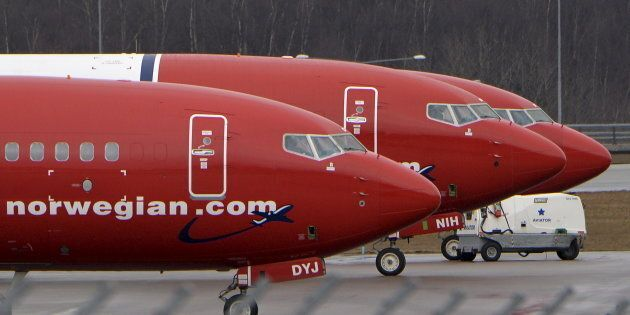Parked Boeing 737-800 aircraft belonging to budget carrier Norwegian Air at Stockholm Arlanda Airport,...