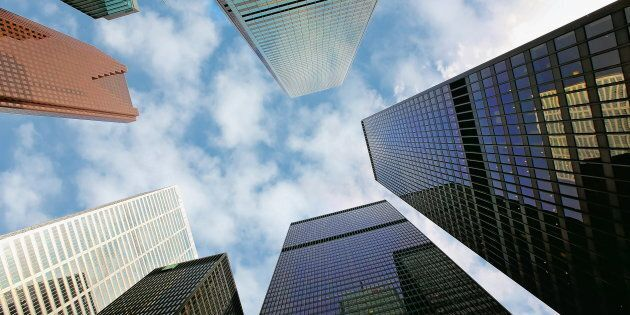 Buildings in Toronto's financial district, including the headquarters of Scotiabank, Bank of Montreal,...