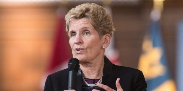 Ontario's Premier Kathleen Wynne speaks in Kingston, Ont., on Feb. 14,