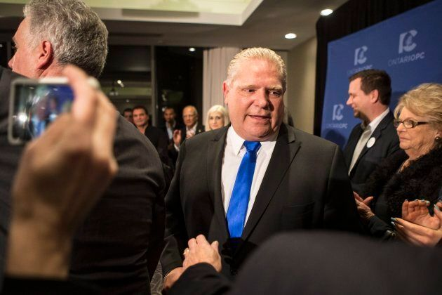 Doug Ford leaves a press conference after being named as the new leader of the Ontario Progressive Conservatives...