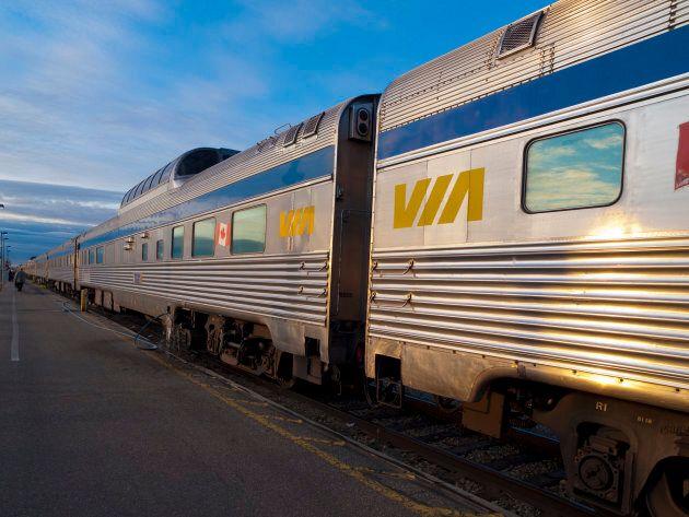 A VIA Rail train waiting at a platform in Edmonton, Alta.