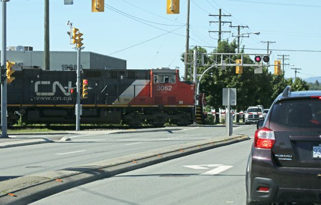 A CN train at a crossing in Langley, B.C.