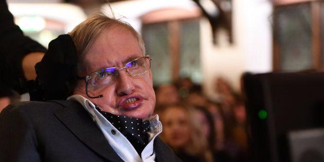 Stephen Hawking addressing The Cambridge Union on Nov. 21, 2017 in Cambridge,
