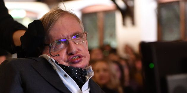 Stephen Hawking addressing The Cambridge Union on Nov. 21, 2017 in Cambridge, U.K.