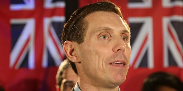 Patrick Brown, the former leader of the Ontario Progressive Conservative Party, speaks to supporters...