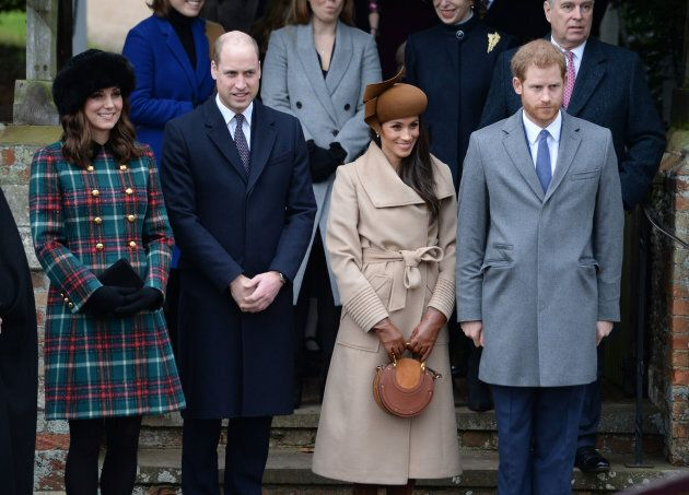 The Duke and Duchess of Cambridge, Meghan Markle and Prince Harry leaving church service on Dec. 25,