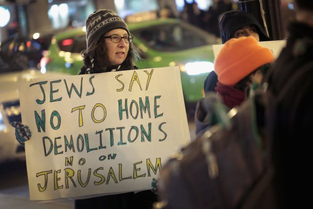 Demonstrators with Jewish Voice for Peace Chicago protest President Donald Trump's decision to recognize Jerusalem as the capital of Israel on Dec. 14, 2017 in Chicago.