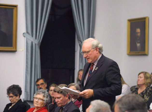 P.E.I. Premier Wade MacLauchlan addresses the assembly following the speech from the throne in Charlottetown on Nov. 14, 2017.