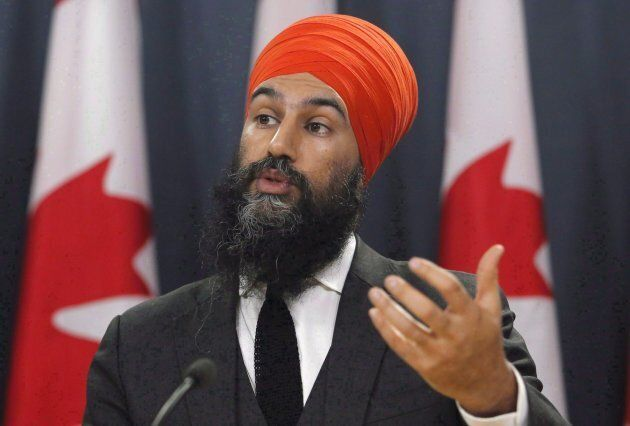 NDP Leader Jagmeet Singh speaks at a press conference as he unveils the NDP's top priorities ahead of...