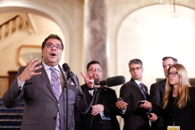 Calgary Mayor Naheed Nenshi speaks to the media after participating in talks during a two-day Liberal...