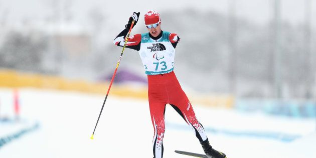 Mark Arendz of Canada in action during Men's 15km, Standing in Biathlon during day seven of the PyeongChang...