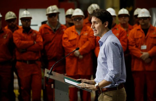 Canada's Prime Minister Justin Trudeau speaks in front of steel workers the ArcelorMittal Dofasco plant...