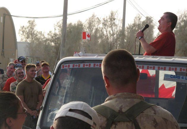 Canadian comedian Mike MacDonald entertains troops at Kandahar Airfield in Afghanistan on July 1,