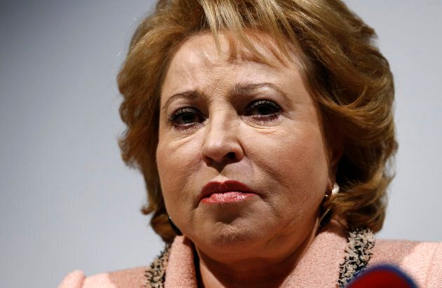 Chairwoman of the Russian Federation Council Valentina Matviyenko attends a news conference in Geneva,...