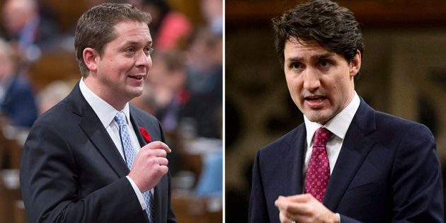 Conservative Leader Andrew Scheer, left, is seen as a better steward of the economy among Canadians when compared to Prime Minister Justin Trudeau, according to a new poll from the Angus Reid Institute.