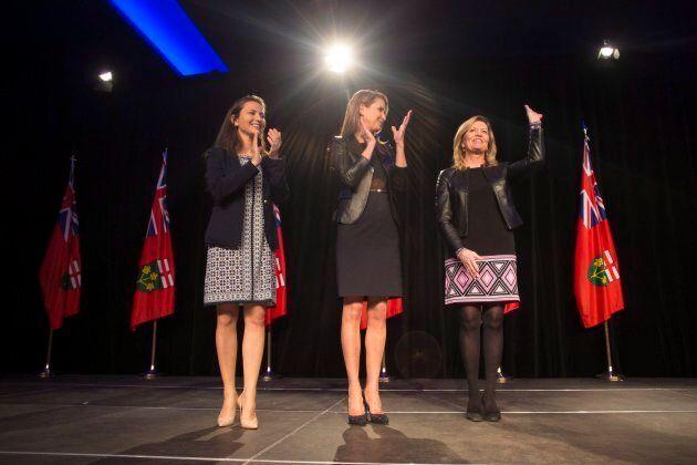 Former Ontario PC leadership candidates Tanya Granic Allen, Caroline Mulroney and Christine Elliott stand...