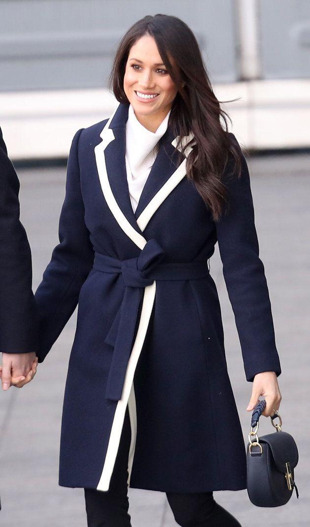 Meghan Markle wears a J. Crew coat as she visits Birmingham, U.K. on March 8,