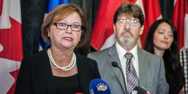 Judy Foote addresses a news conference in St. John's, N.L on Aug.24,