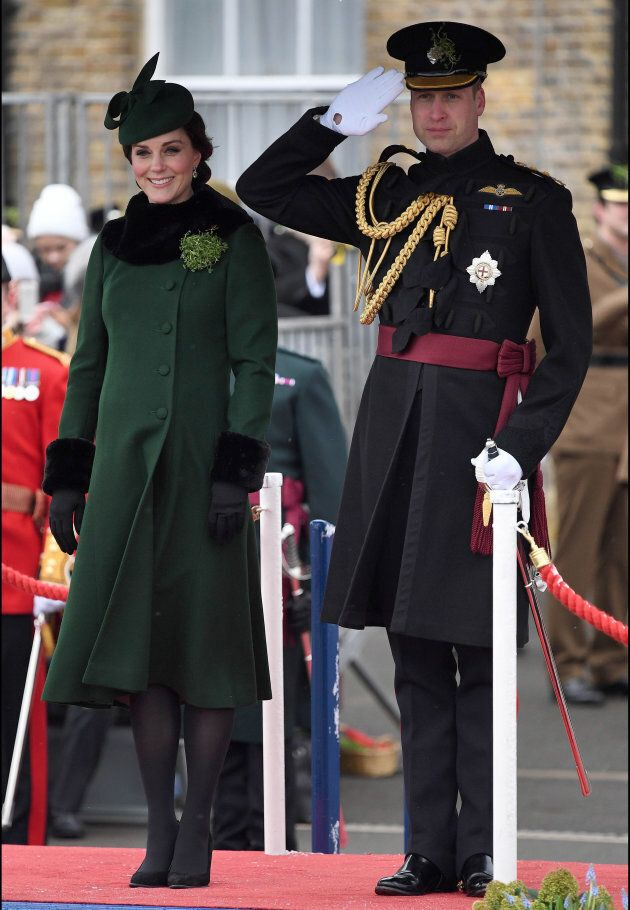 The Duke and Duchess of Cambridge at the Irish Guards St. Patrick's Day Parade in Hounslow, England.
