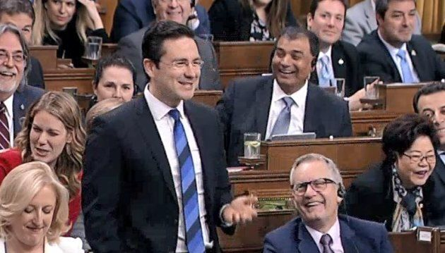 Conservative finance critic Pierre Poilievre cracks up in question period on March 21,