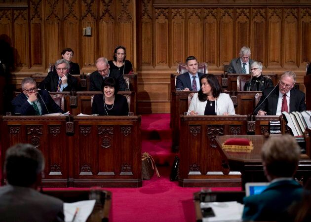 Health Minister Ginette Petitpas Taylor speaks as she appears as a witness along with Public Safety Minister Ralph Goodale, Justice Minister Jody Wilson-Raybould and M.P. Bill Blair at a Senate Committee in the Senate Chamber on Bill C-45, the Cannabis Act, on Parliament Hill in Ottawa on Feb. 6, 2018.