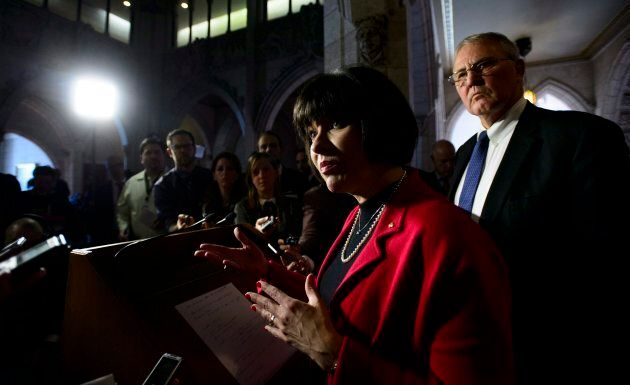 Ginette Petitpas Taylor, Federal Minister of Health and Bill Blair hold a press conference in foyer of the House of Commons on Parliament Hill in Ottawa on March 19, 2018.