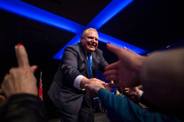 Ontario PC Leader Doug Ford greets supporters after holding a unity rally in Toronto, Ont. on March 19,