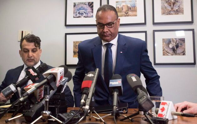 Jaspal Atwal, right, arrives with his lawyer Rishi T. Gill for a news conference in downtown Vancouver...