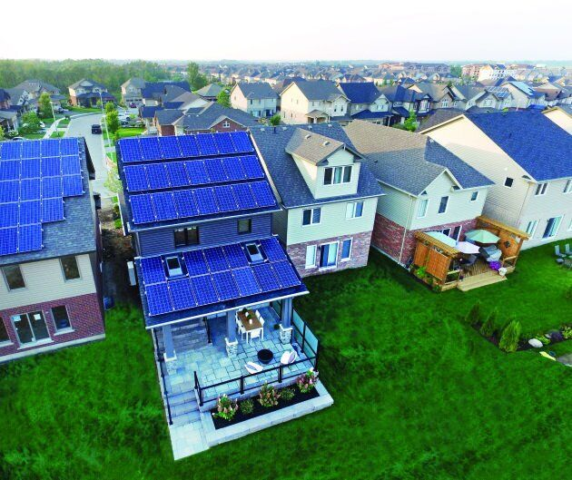 Solar panels are shown on a net-zero energy home in Guelph,