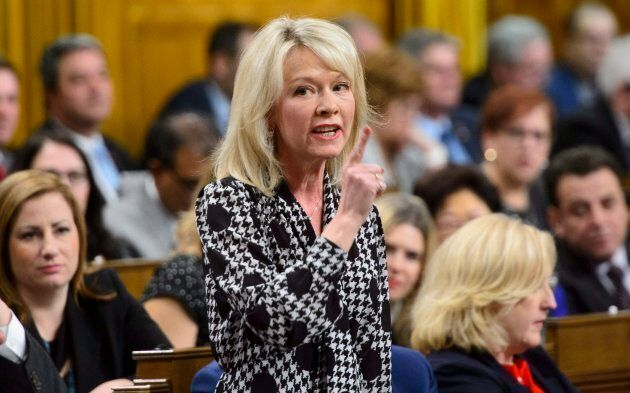 Conservative MP Candice Bergen stands during question period in the House of Commons on Parliament Hill...