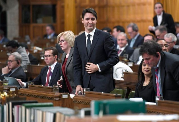 Prime Minister Justin Trudeau rises to vote during a marathon voting session in the House of Commons...