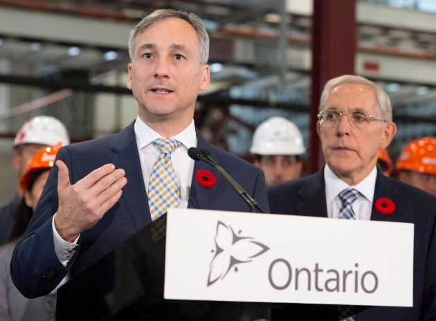 Ontario Power Generation chairman Bernard Lord speaks at the Darlington nuclear facility in Courtice,...