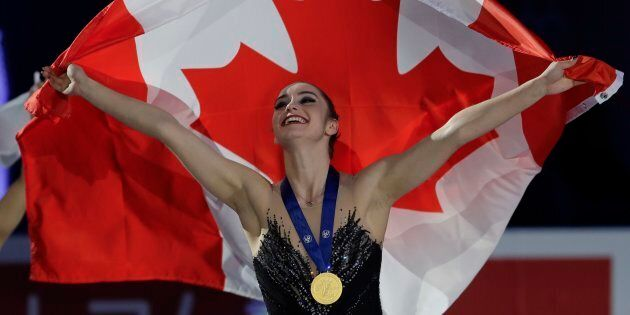 Kaetlyn Osmond of Canada celebrates after winning the women's free skating program, at the Figure Skating...
