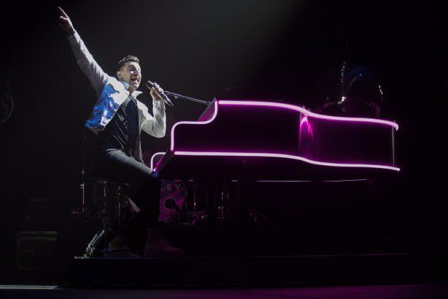 Hedley lead singer Jacob Hoggard performs during the band's final concert of their current tour in Kelowna,...
