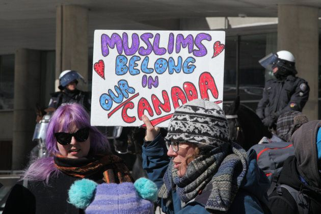 A protest over the M-103 motion to fight Islamophobia, in downtown Toronto on March 4, 2017.