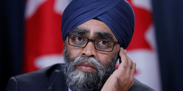 Defence Minister Harjit Sajjan takes part in a news conference in Ottawa on Dec. 12,
