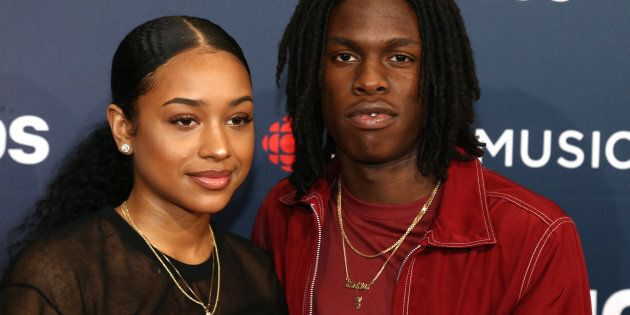 Daniel Caesar and guest arrive on the 2018 Junos red carpet in Vancouver on