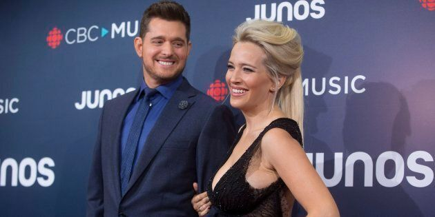 Michael Buble and wife Luisana Lopilato arrive on the red carpet at the Juno Awards in Vancouver,