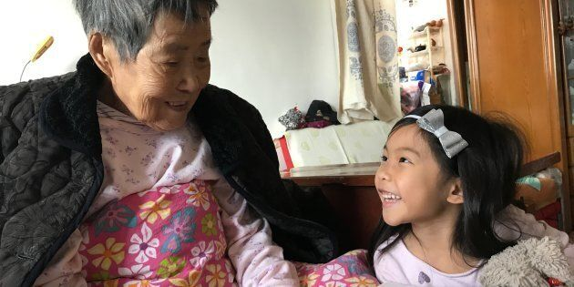 My daughter with my grandmother, three months before she passed. I'm so thankful that they had an opportunity...