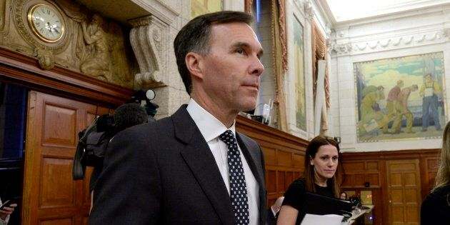 Finance Minister Bill Morneau arrives to appear before the Standing Committee on Finance on Parliament...