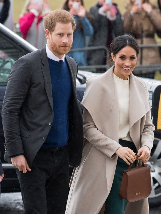 Prince Harry and Meghan Markle visit the iconic Titanic Belfast during a visit to Northern Ireland on March 23, 2018.