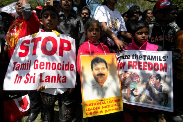 Tamil protesters demonstrate at Queens Park in Toronto on May 13, 2009, to protest the the Sri Lankan government's repression.