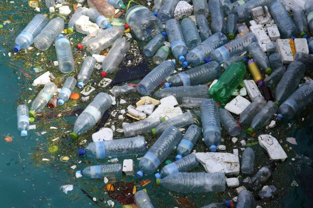 Marine pollution, mainly made up of plastic bottles and polystyrene, floating in Hinnavaru Harbour, Maldives, Indian Ocean.