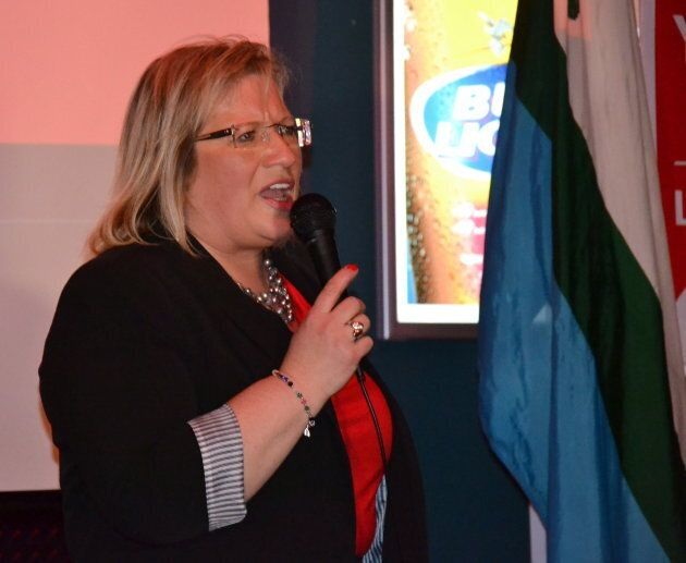 Yvonne Jones makes her victory speech following her federal byelection win in Happy Valley-Goose Bay,...
