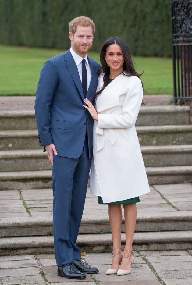 Prince Harry and Meghan Markle attend a photocall in the Sunken Gardens at Kensington Palace on Nov....