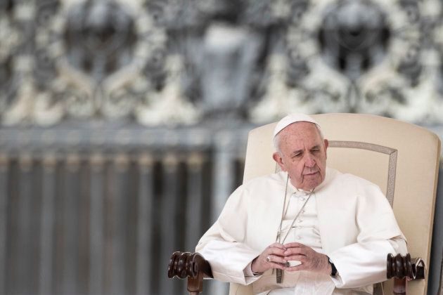 Pope Francis leads his general weekly audience in St. Peter's Square at the Vatican on March 28,