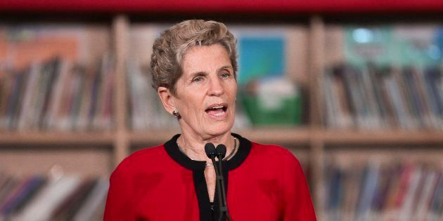 Premier Kathleen Wynne speaks during a media conference announcing the Liberal government's election...
