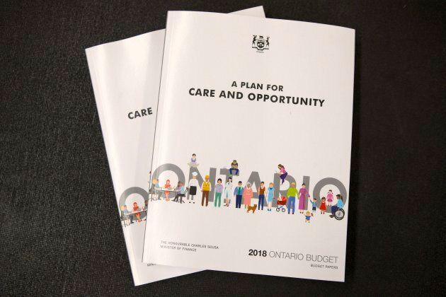 A copy of the Budget document is seen as the Ontario Provincial Government delivers its 2018 Budget at...